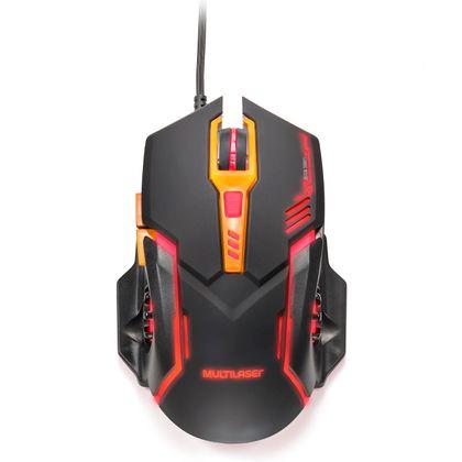 Mouse Gamer DPI 2400 Preto/laranja Multilaser - MO270 MO270