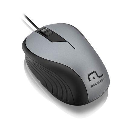 Mouse Multilaser Emborrachado Cinza e Preto com Fio USB - MO225 MO225