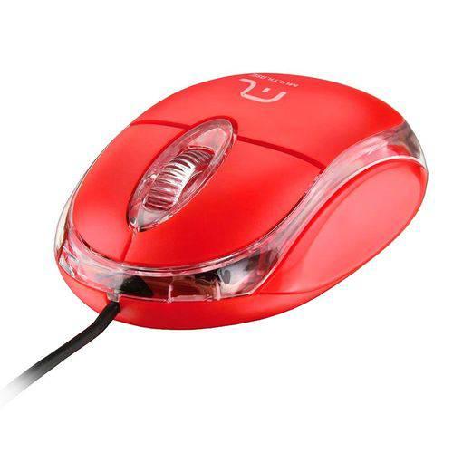 Mouse Óptico Multilaser MO003 USB Classic Vermelho