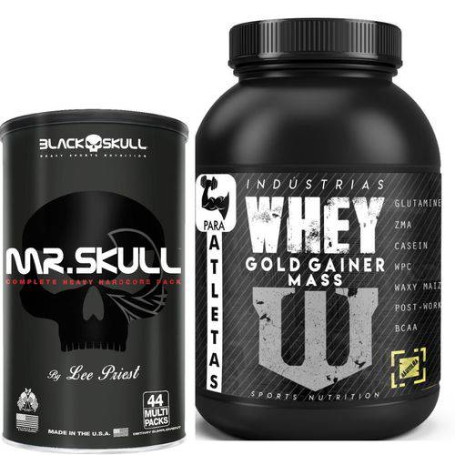 Mr Skull 44 Multipacks Black Skull + Gold Gainer Mass 3kg Baunilha