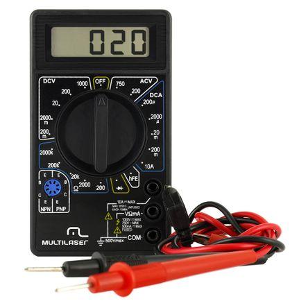 Multímetro Digital Corrente Ac + Dc Tensão 200m~1000v Bateria 9v Preto Multilaser - AU325 AU325