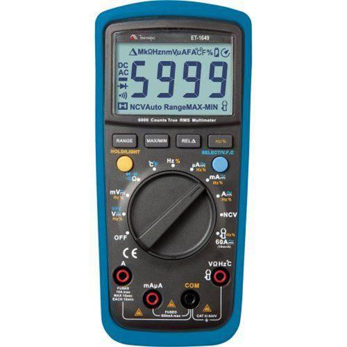 Multímetro Digital Temperatura True RMS CATIII ET-1649 Minipa
