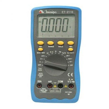 Multímetro Digital True RMS - 1000V - CATII - ET-2110 - Minipa