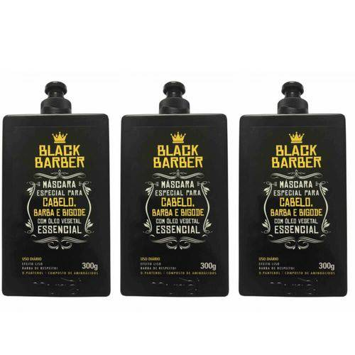 Muriel Black Barber Máscara P/ Cabelo/ Barba/ Bigode 300ml (kit C/03)