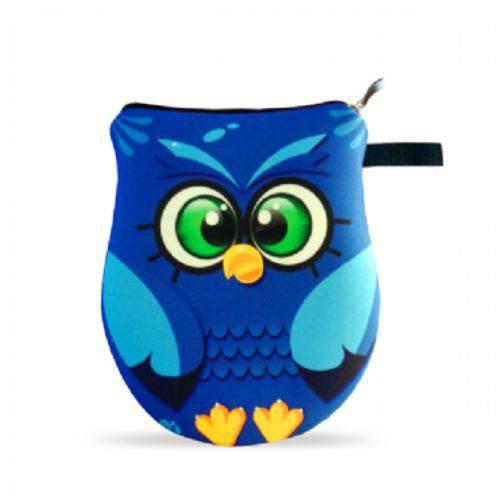 Necessaire Bolsinha Coruja Azul Corujinha Neoprene com Zíper