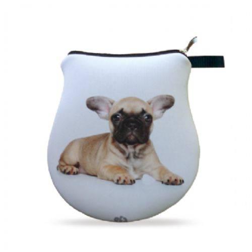 Necessaire Neoprene Bulldog Marrom Filhote Pet Bolsinha com Zíper