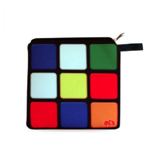 Necessaire Neoprene Cubo Mágico Game Nostalgia Bolsinha com Zíper Clássico