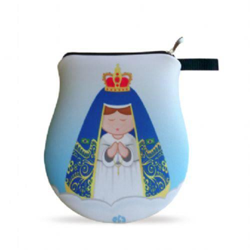 Necessaire Neoprene Nossa Senhora da Aparecida Bolsinha Santinha com Zíper