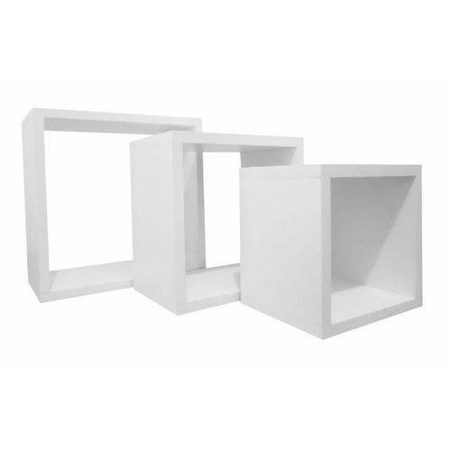 Nicho Cubo Branco Kit com 3 Peças
