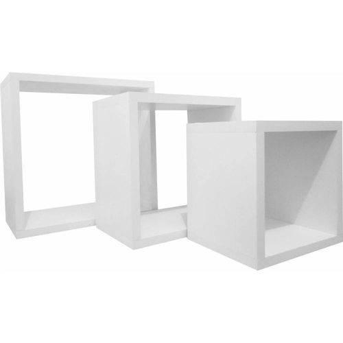 Nicho Cubo Prateleira em MDF Branco Kit C/3 - 10cm de Profundidade