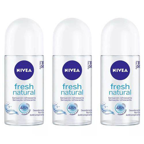 Nivea Fresh Natural Desodorante Rollon 50ml (kit C/03)