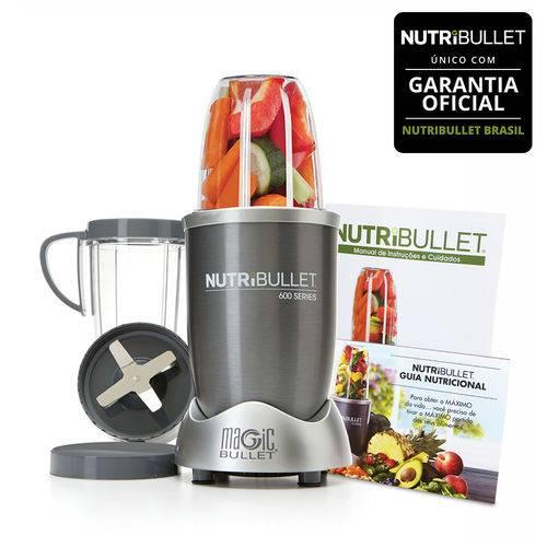 Nutribullet 600w de Potência Cinza com 8 Itens - 5 em 1 - Liquidificador, Multiprocessador, Blender, Mixer e Moedor