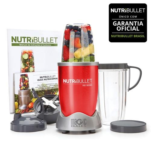 Nutribullet 900w de Potência Vermelho com 9 Itens - 5 em 1 - Liquidificador, Multiprocessador, Blender, Mixer e Moedor