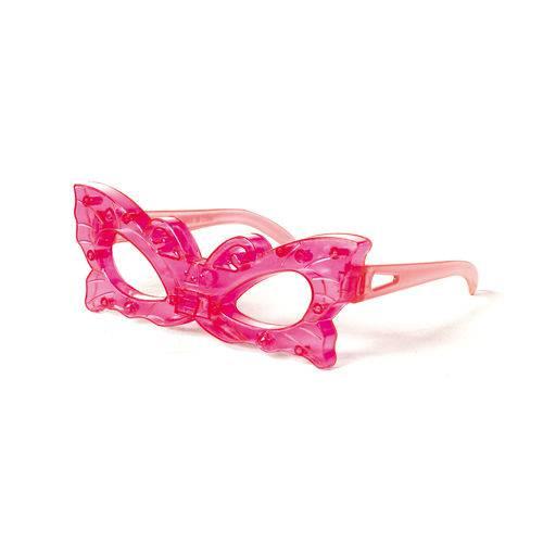 Óculos Acessório Carnaval com Luz Led Borboleta Rosa Pink