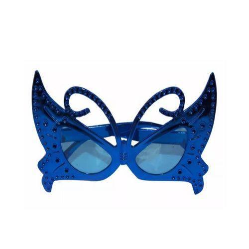 Óculos Borboleta Metalizado Azul