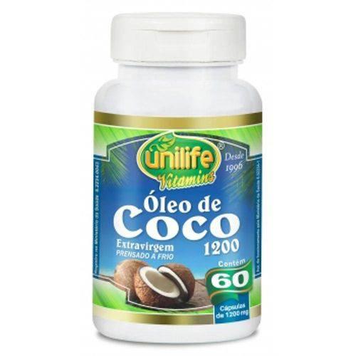 Óleo de Coco Extra Virgem Prensado a Frio Unilife 60 Capsulas 1200mg