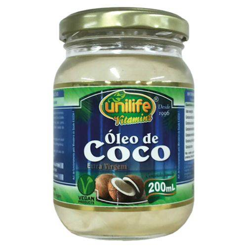 Óleo de Coco Extra Virgem Puro 200ml - Unilife - 100% Natural