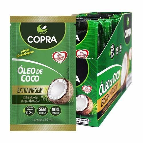 Óleo de Coco Extravirgem Copra C/ 40 Sachês de 15ml Cada