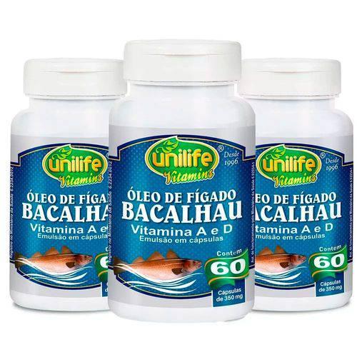 Óleo de Fígado de Bacalhau 350mg - 3 Un de 60 Cápsulas - Unilife