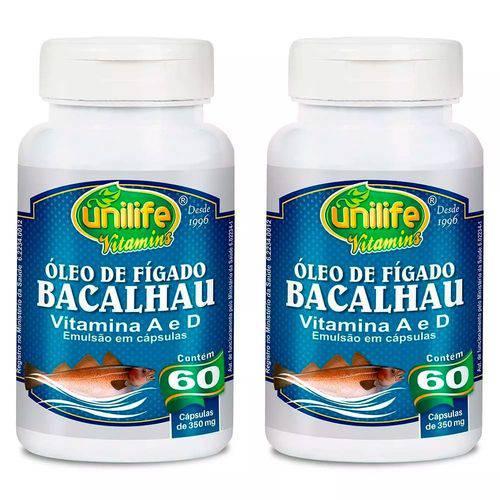 Óleo de Fígado de Bacalhau 350mg - 2 Un de 60 Cápsulas - Unilife