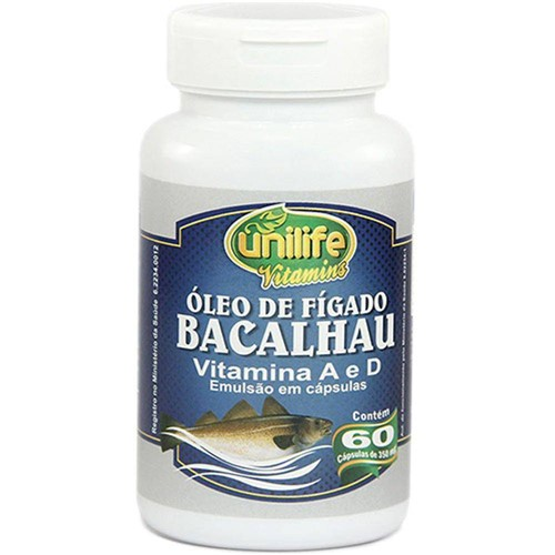 Óleo de Fígado de Bacalhau 60 Cápsulas 350mg - Unilife