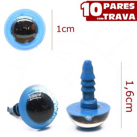 Olho para Amigurumi Redondo Nº 10 Azul - 10 Pares com Trava