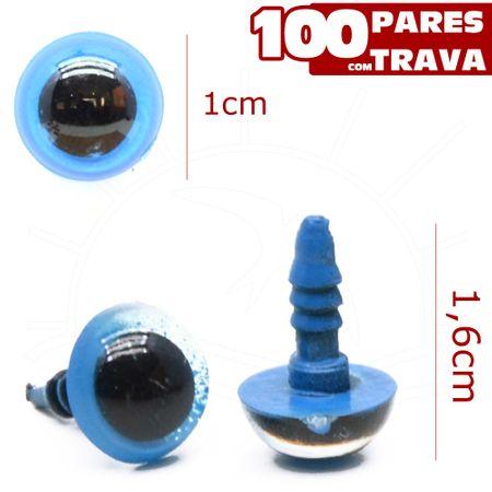 Olho para Amigurumi Redondo Nº 10 Azul - 100 Pares com Trava