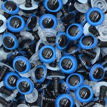 Olho para Amigurumi Redondo Nº 14 - 10 Pares com Trava Azul