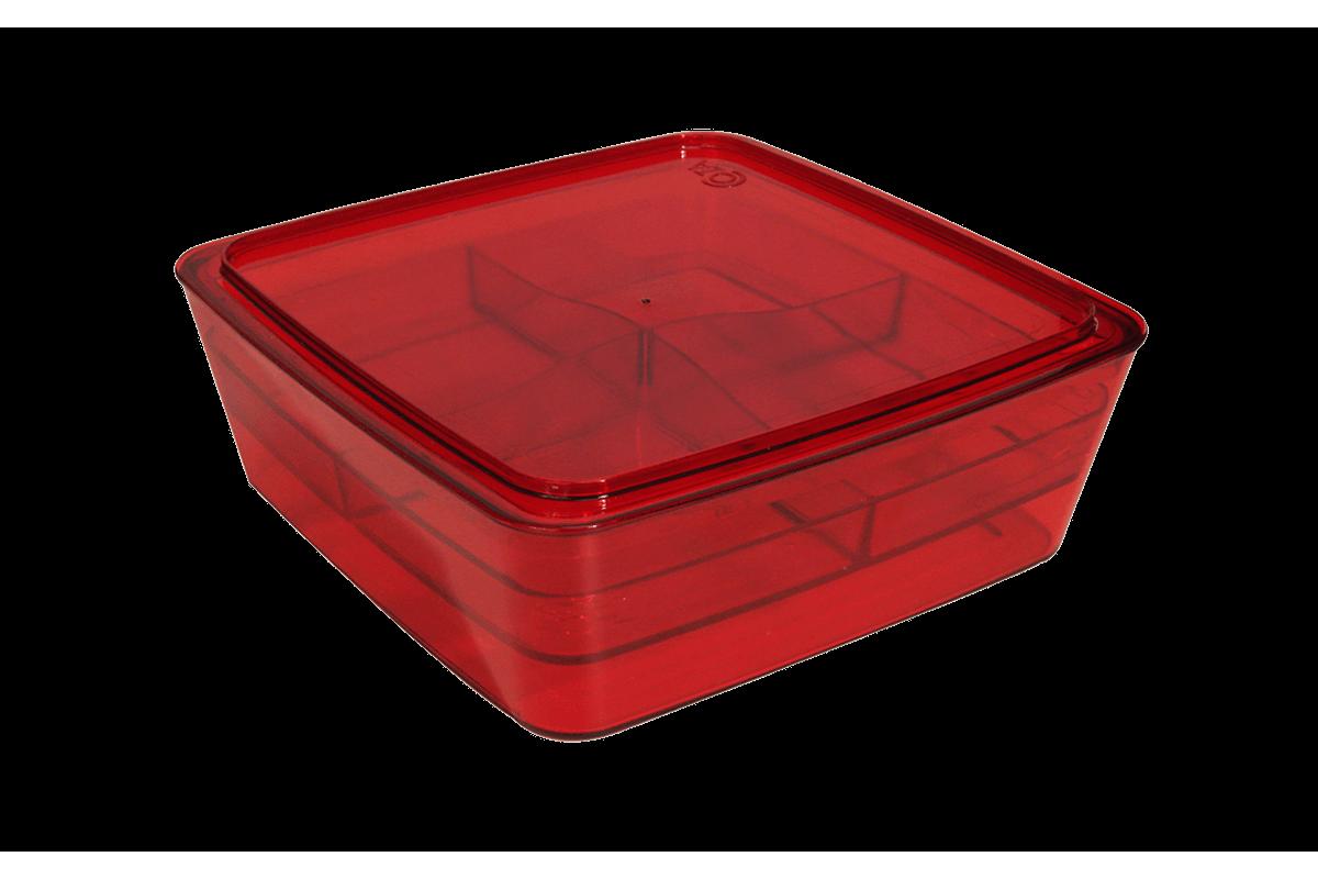 Organizador com Divisória - Retrô 22,7 X 22,7 X 8,2 Cm Vermelho Transparente Coza