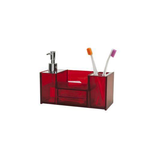 Organizador para Bancada - Quadrata 21,8x10,9x16,4 Cm 360ml Vermelho Marca Brinox