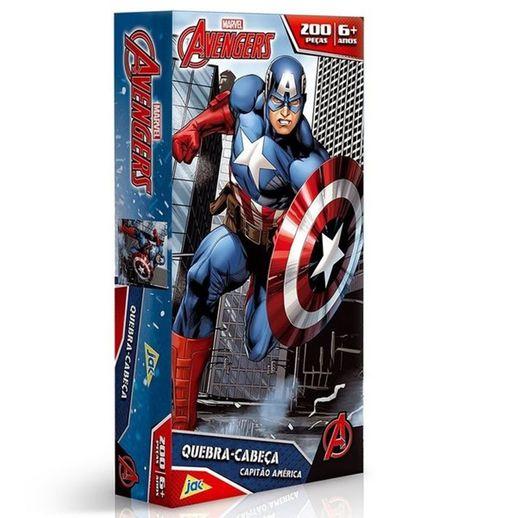 Os Vingadores Quebra Cabeça 200 Peças Capitão América - Toyster