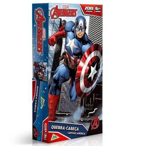 Os Vingadores Quebra-Cabeça 200 Peças Capitão América - Toyster