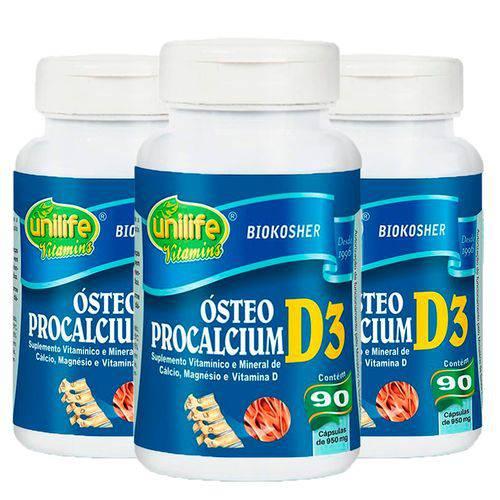 Ósteo Procalcium D3 - 3 Un de 90 Cápsulas - Unilife