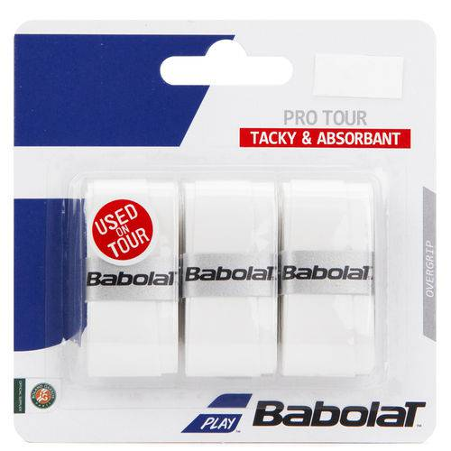 Overgrip Babolat Pro Tour Branco com 03 Unidades