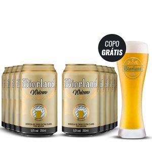 Pack Cerveja Bierland Weizen 10 Latas 350ml com Copo Grátis