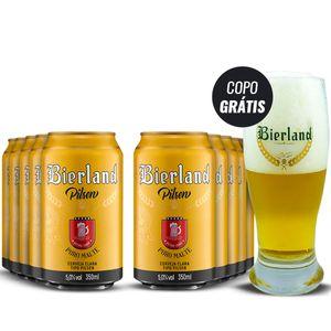 Pack com 10 Latas Bierland Pilsen 350ml com Copo Grátis