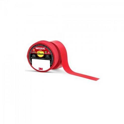 Pacote com 10 Rolos - Fita Isolante 18mm X 10m IMPERIAL Vermelha 3M