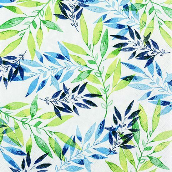 Pacote de Guardanapos Descartaveis Folhas Verdes de Aquarela