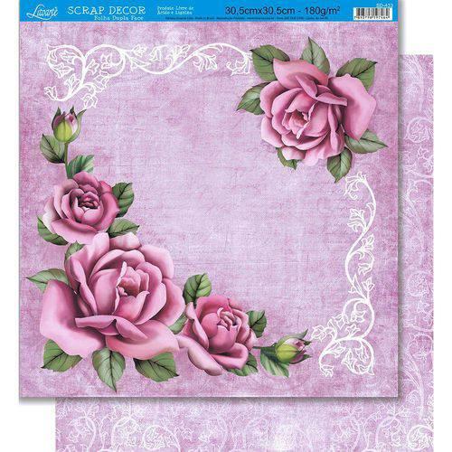 Página para Scrapbook Dupla Face Litoarte 30,5 X 30,5 Cm - Modelo Sd-433 Rosas e Arabescos/Arabescos