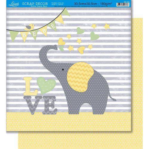 Página para Scrapbook Dupla Face Litoarte 30,5 X 30,5 Cm - Modelo Sd-409 Elefante Love Baby