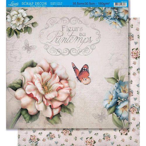Página para Scrapbook Dupla Face Litoarte 30,5 X 30,5 Cm - Modelo Sd-425 Várias Flores/Flores Padrão