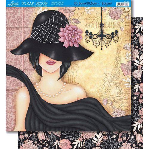 Página para Scrapbook Dupla Face Litoarte 30,5 X 30,5 Cm - Modelo Sd-336 Mulher/Floral
