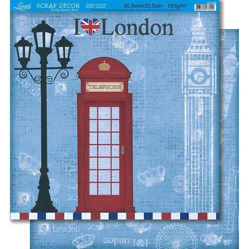 Página para Scrapbook Dupla Face Litoarte 30,5 X 30,5 Cm - Modelo Sd-360 Londres