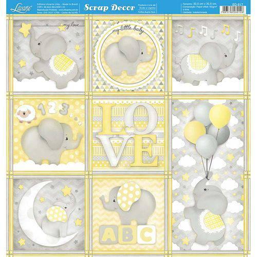 Página para Scrapbook Dupla Face Litoarte 30,5 X 30,5 Cm - Modelo Sd-817 Quadros Bebê Elefante Cinza/amarelo