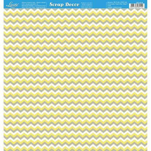 Página para Scrapbook Dupla Face Litoarte 30,5 X 30,5 Cm - Modelo Sd-819 Chevron Amarelo, Branco e Cinza