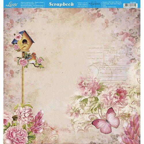 Página para Scrapbook Dupla Face Litoarte 30,5 X 30,5 Cm - Modelo Sd-863 Casa de Passarinho e Flores