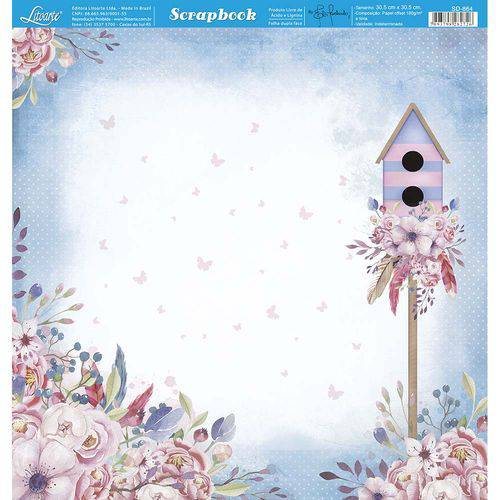 Página para Scrapbook Dupla Face Litoarte 30,5 X 30,5 Cm - Modelo Sd-864 Casa de Passarinho e Flores