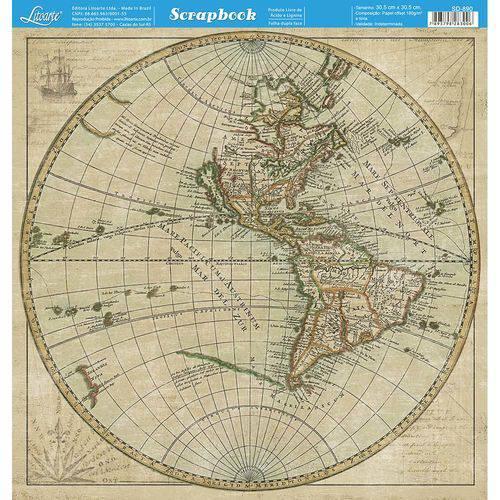 Página para Scrapbook Dupla Face Litoarte 30,5 X 30,5 Cm - Modelo Sd-890 Mapa Mundi Marrom