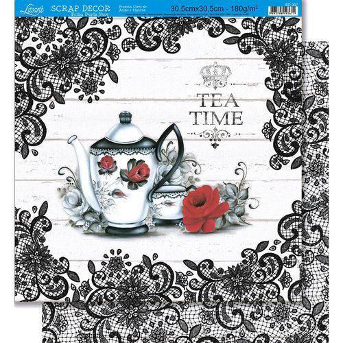 Página para Scrapbook Dupla Face Litoarte 30,5 X 30,5 Cm - Modelo Sd-397 Chá Rendas