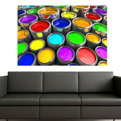 Painel Adesivo de Parede - Latas de Tinta - 024pn